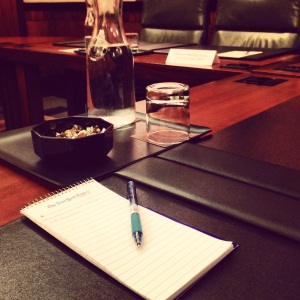 Taking notes in the fancy conference roomsPhoto by Kate Stringer