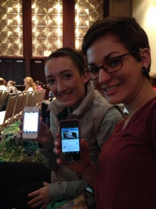 Beacon Staffers Katie and Sarah live tweeting during the Keynote presentation by Mark Luckie!