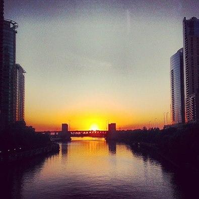 Sunrise in Chicago.