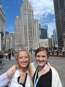 Lydia and Kelsey with the famed Chicago Tribune building as a backdrop