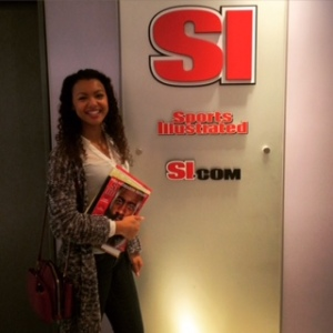 Sports Editor Malika Andrews poses at Sports Illustrated headquarters