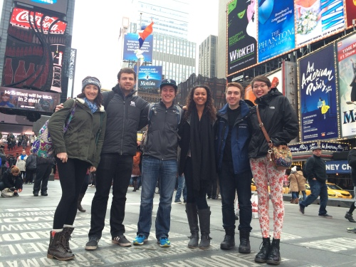 Beacon staffers in Times Square: Katie Dunn, Parker Shoaff, David DiLoreto, Malika Andrews, Jacob Fuhrer, Rebekah Markillie