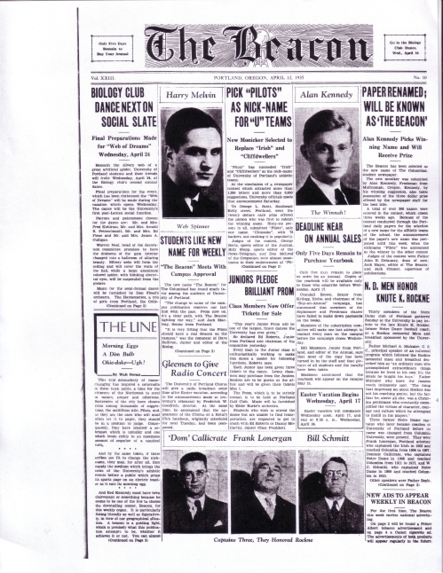 First issue of The Beacon, April 12, 1935