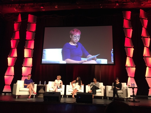 Sarah Jeong of Motherboard, Amanda Hess of Slate, Soraya Chemaly of The Women's Media Center, Michelle Ferrier of Ohio University and Laurie Penny, freelance journalist and author and Nieman Fellow
