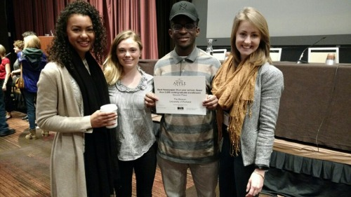 Malika, Cheyenne, Ben and Clare with the award at the College Media Convention in New York