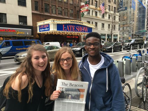 Rachel, Cheyenne and Ben show their Beacon pride outside the theatre where Stephen Cobert does The Late Show