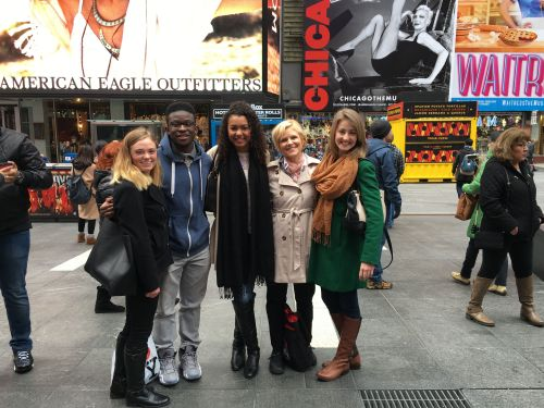 Cheyenne, Ben, Malika, Nancy and Clare in TImes Square. Rachel was touring CBS.
