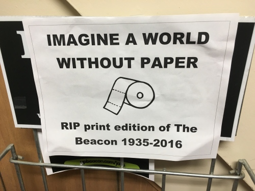 One print lover posted these on all the news racks.