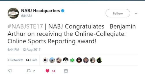 Ben award tweet