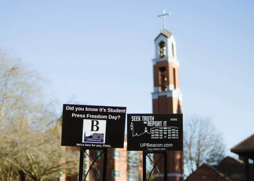 student press freedom signs and tower photo