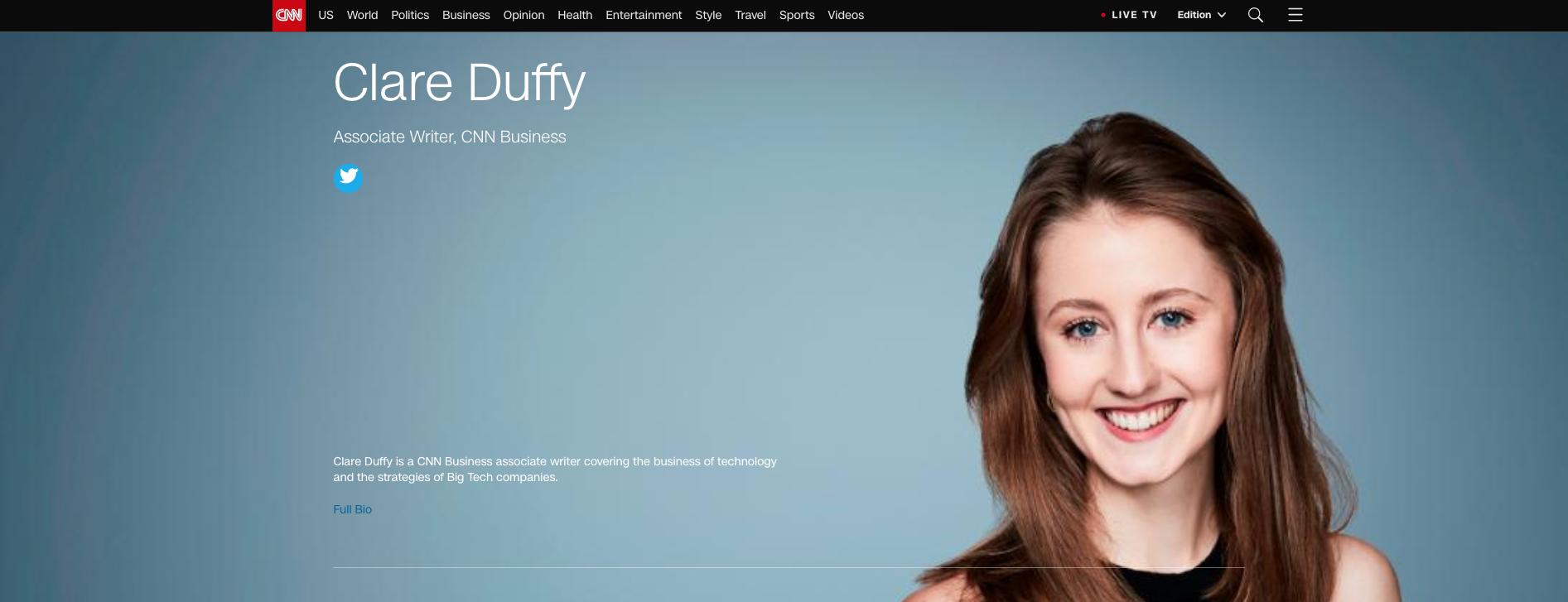 Clare Duffy CNN profile page
