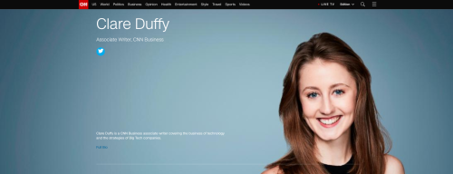 Clare Duffy CNN profile page